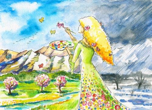 Mujer rodeada de belleza pintando