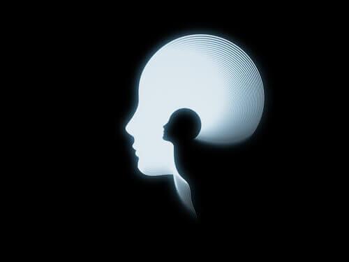 Silueta de una cabeza guardando en su interior ego