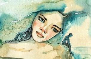 Chica con ojos azules pensando en sus pensamientos negativos