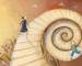 Escalera en espiral con personas