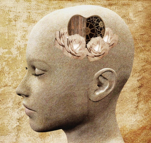 Cabeza de persona con corazón y mecanismo para pensar
