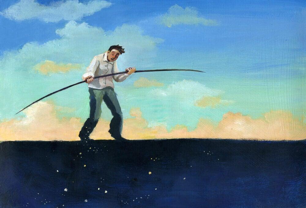 Hombre con una vara