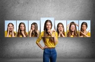 mujer con diferentes estados emocionales