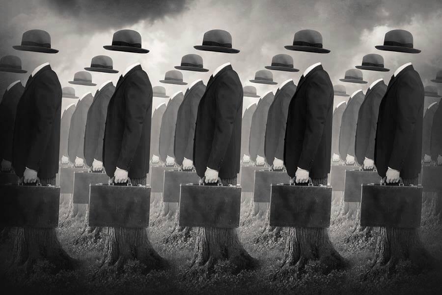 Hombres sin cara representando malas personas