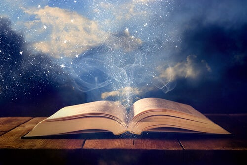 Libro abierto con luces, leer