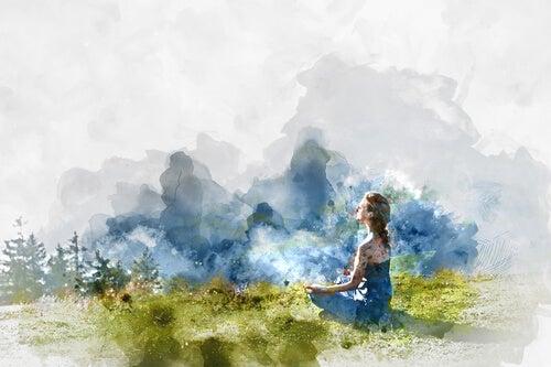 la serenidad, mujer practicando meditación