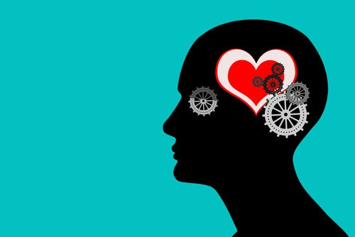 Cabeza con corazón en el cerebro