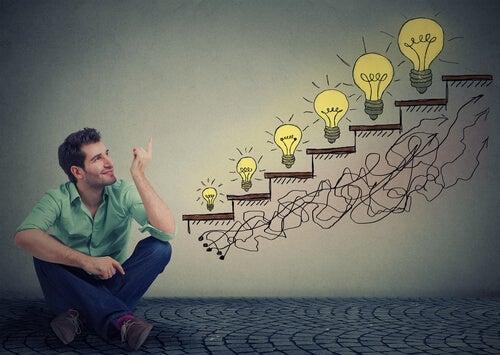Hombre emprendedor visualizando sus sueños