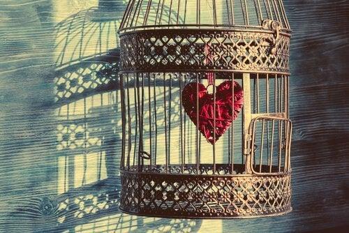 Jaula con un corazón representando el apego