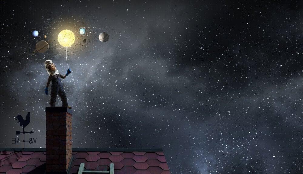 Niño con sueños y sueños de alcanzar las estrellas