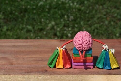 Cerebro con bolsas de compras sabias