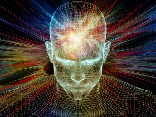 Hombre con la mente iluminada por el inconsciente colectivo
