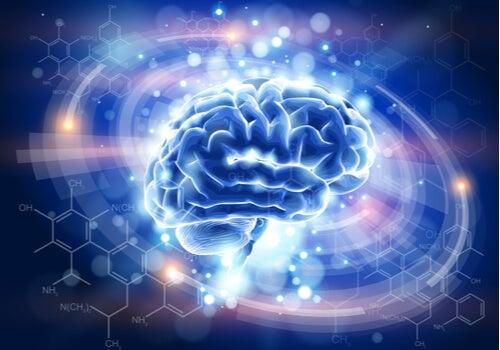 Cerebro iluminado con puntos