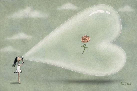 Niña con burbuja y en su interior una rosa