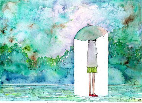 Niña sola con paraguas