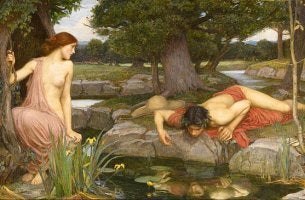 Narciso mirando su reflejo