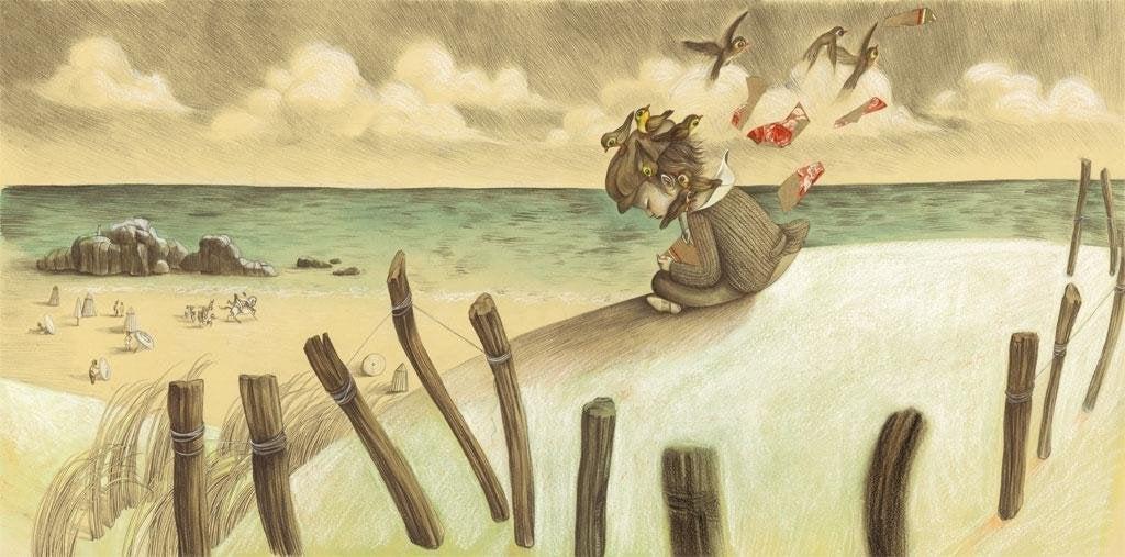 Niña triste mirando al mar