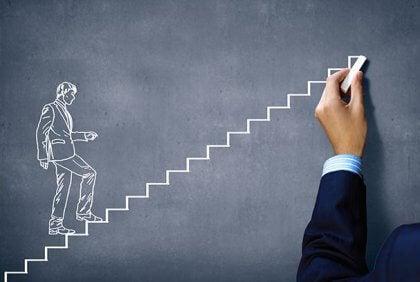 Dibujo de una persona subiendo escaleras