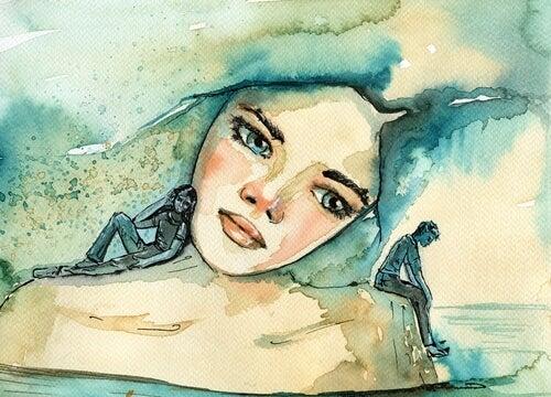 Chica mirando sus recuerdos
