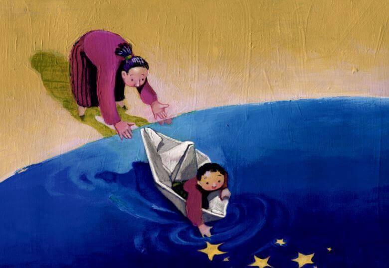 Mujer animando a un niño a alcanzar sus sueños