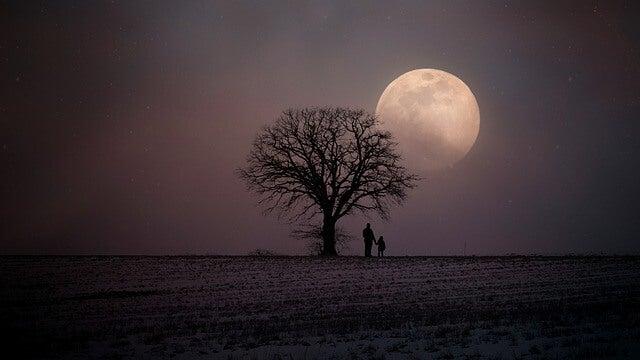 PErsonas mirando a la Luna
