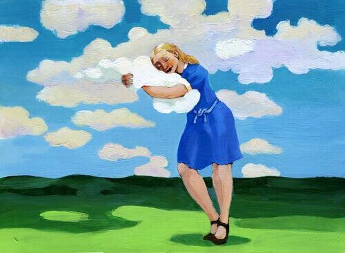 Mujer abrazada a una nube