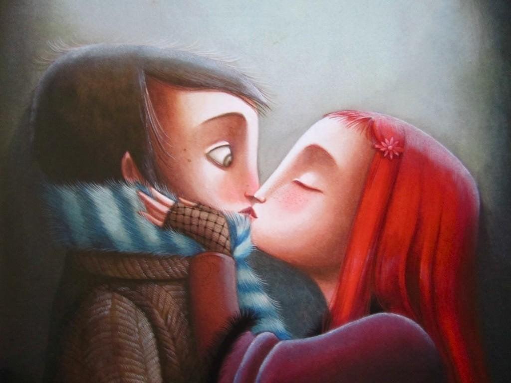 Pareja perfecta besándose