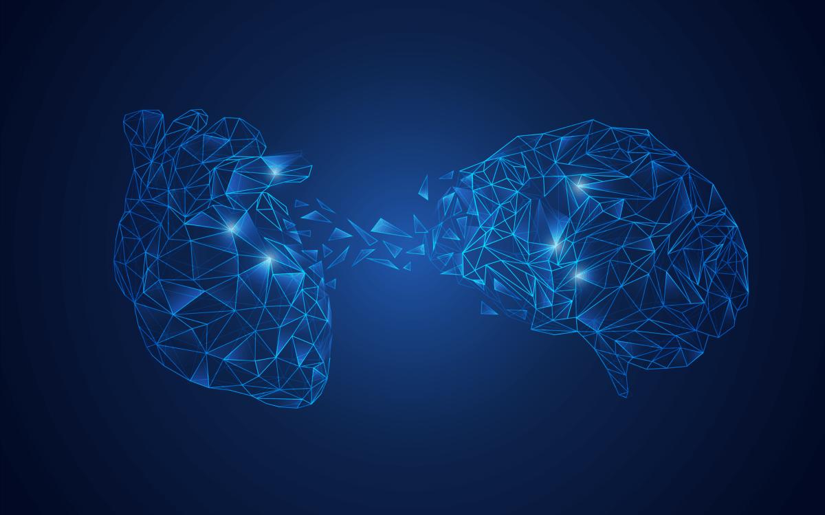 Cerebro y corazón uniendose representando lo que le pasa a nuestro cerebro cuando pensamos