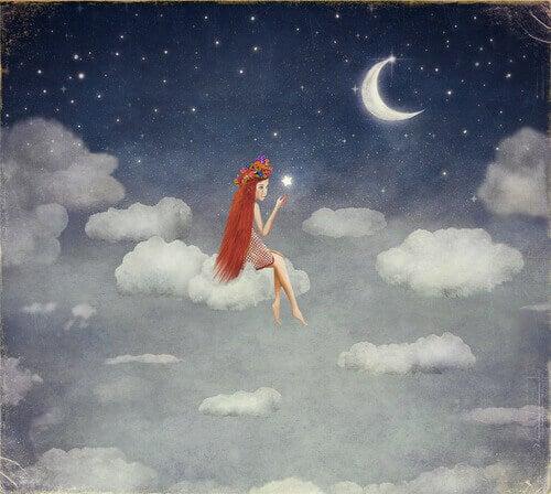 Niña en una nube pensando en un viaje interior