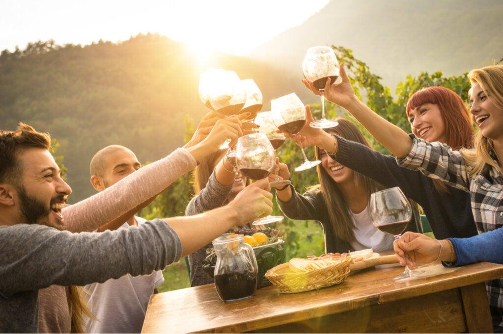 Amigos reunion brindando