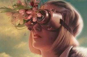 Mujer con flores en los ojos aprendiendo a aplicar técnicas de control emocional