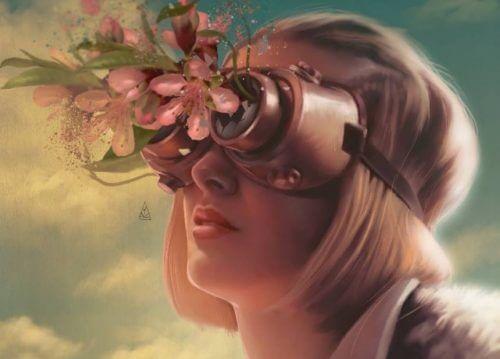 Mujer con flores en los ojos aprendiendo a aplicar técnicas de gestión emocional