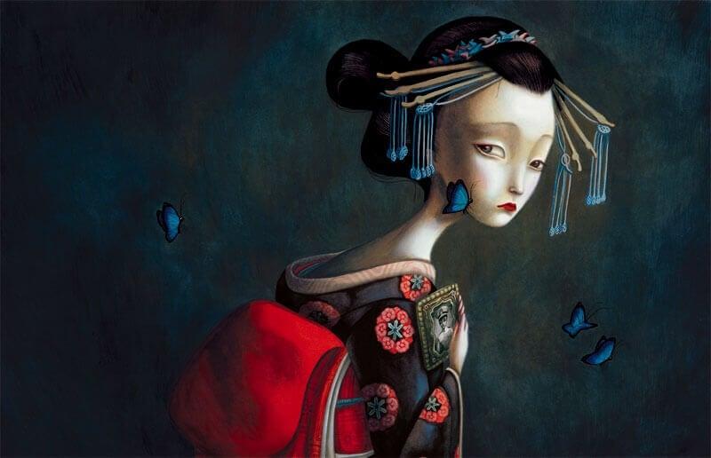 Mujer con kimono y mariposas