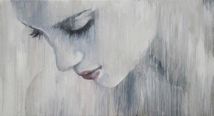 Mujer triste con miedo al amor