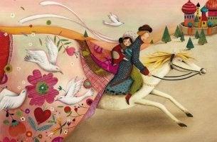 Hombre llevando a su dama a caballo