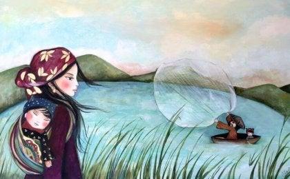 Madre con hijo observando a los pescadores, empatía
