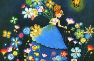 Niña feliz entre flores
