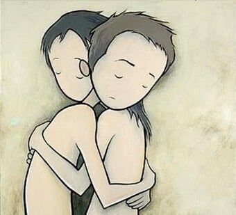 Pareja abrazada perdonándose