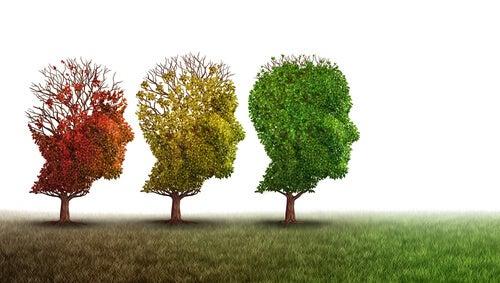 Arboles perdiendo hojas simbolizando dolor de cabeza