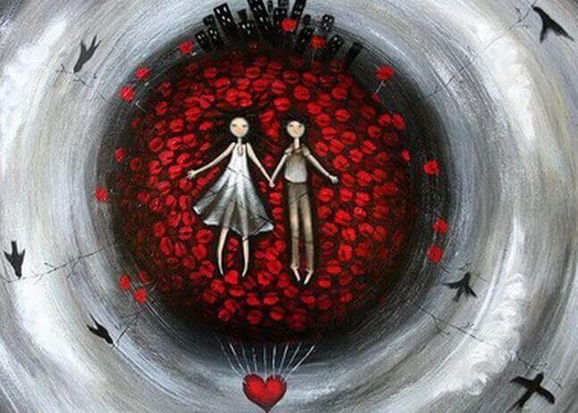 Pareja rodeada de corazones y unida por la leyenda del hilo rojo