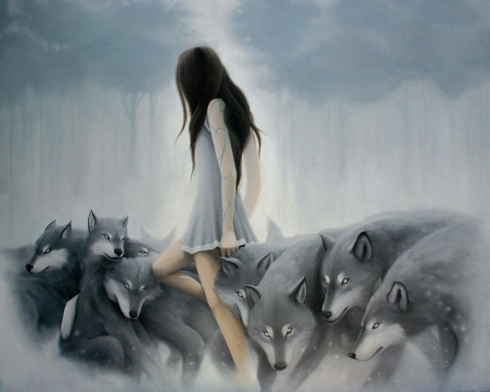Mujer entre lobos simbolizando chantaje emocional