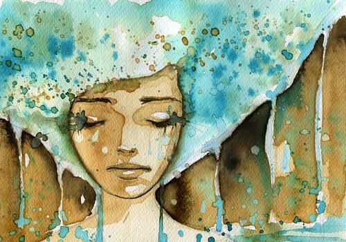 Mujer sensible con el pelo azul