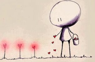 Niño plantando corazones