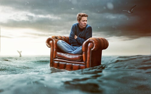 castaway on an armchair putting faith in the law of attraction