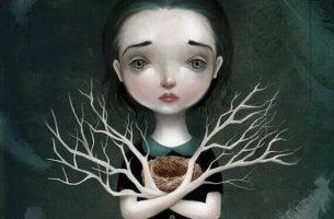 Mujer con manos en forma de ramas y corazón roto