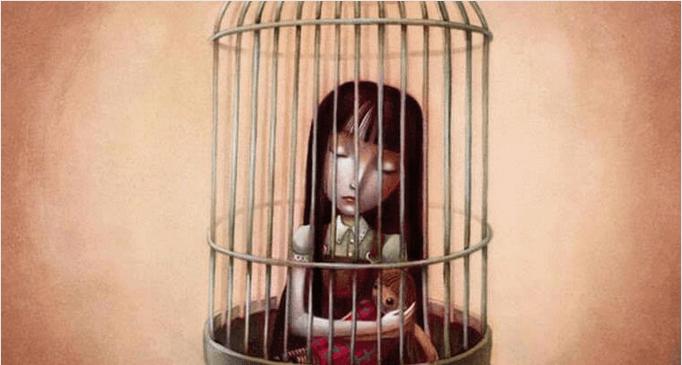 Niña en una jaula