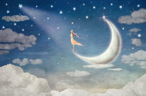 Niña soñando en la luna con nostalgia