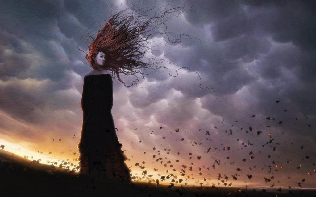 Mujer triste con pensamientos intrusivos