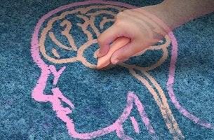 Mano dibujando las tres partes de nuestro cerebro