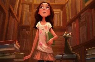 Niña emocionada por estar rodeada de libros